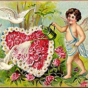 Vintage Post Card Valentine Greetings Cherub with Doves and Roses