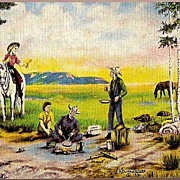 Vintage Post Card Western Artist Signed Cowboys, Cowgirls and Horses