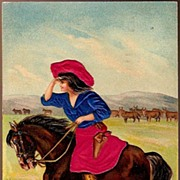 Vintage Post Card Western Silk Cowgirl on Horse with Cattle