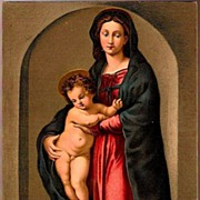 Vintage Post Card Religious Artist Signed The Madonna with Baby Jesus