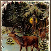SOLD Vintage Post Card Art Deer in Winter Forest with Full Moon