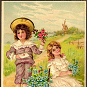 REDUCED Vintage Post Card B. W. Valentine Greeting Boy and Girl with Flowers