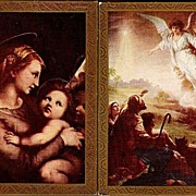 Vintage Post Cards Religious Art Angel and Madonna with The Christ Child (2)
