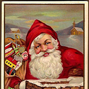 Vintage Post Card Christmas Greetings Santa with Toys at Chimney