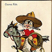 Vintage Post Card Artist Signed Cinema Kids Cowboy on Rocking Horse