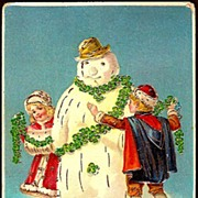 Vintage Post Card New Year Greetings Snowman with Children