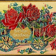 Vintage Post Card Birthday Greetings Cart with Red Roses and Forget-me-nots
