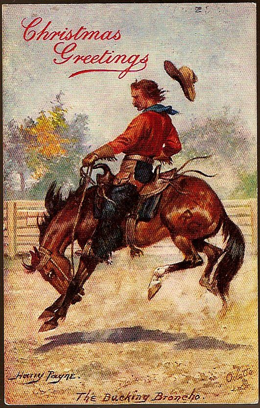 Vintage Post Card Tucks Artist Signed Christmas Greetings Cowboy