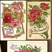 Vintage Post Cards Greetings Red Rose Flowers (3)