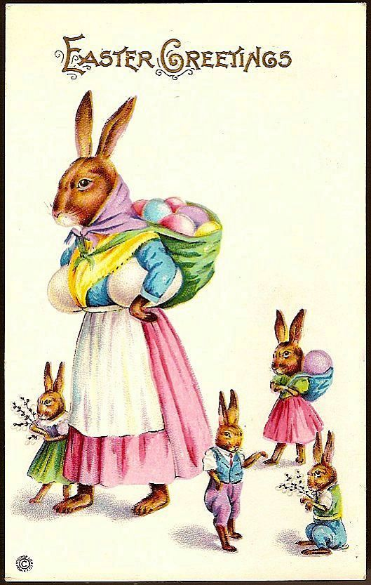 Vintage Post Card Easter Greetings Dressed Mother Rabbit and Bunnies
