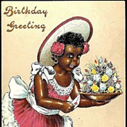 Vintage Post Card Black Americana Birthday Greetings Girl in Wide Brimmed Hat with Flowers
