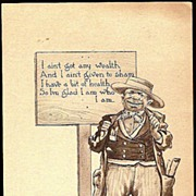 SOLD Vintage Post Card Artist Signed Western Man in Hat