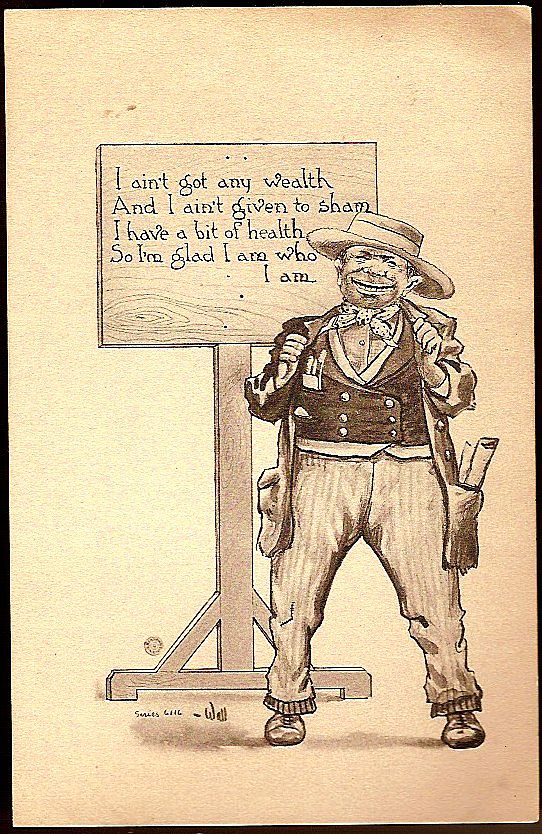 Vintage Post Card Artist Signed Western Man in Hat