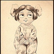 Vintage Post Card Artist Signed Comic Girl with Bows in her Hair