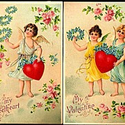 REDUCED Vintage Post Cards B.W. Valentine Greetings Cherubs with Flowers (2)