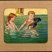 Vintage Post Card Bathing Beauties Boy and Girl with Doll and Dog