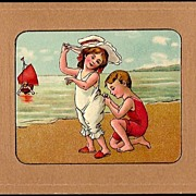 Vintage Post Card Boy and Girl Bathing Beauties with Boat