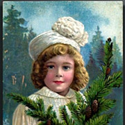 Vintage Post Card Christmas Greetings Girl in Hat with Fir Bough
