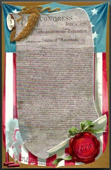 Vintage Post Card Tucks Patriotic Declaration of Independence