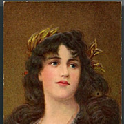Vintage Post Card Art Lady with Long Hair