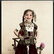 Vintage Post Card Tinted Real Photo Girl with Braided Hair