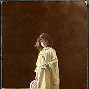 REDUCED Vintage Post Card Real Photo Tinted Girl with Candle
