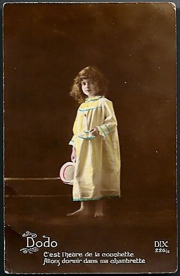 Vintage Post Card Real Photo Tinted Girl with Candle