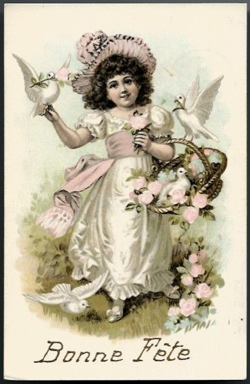 Vintage Post Card Bonne Fete Greetings Girl with White Doves and Roses