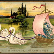 Vintage Post Card Birthday Greetings Swans with Boat