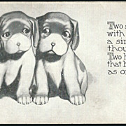 Vintage Post Card Artist Signed Dogs with Sentiment