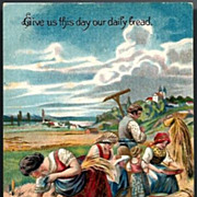 Vintage Post Card Religious Lady with Peasant's Laboring in a Field
