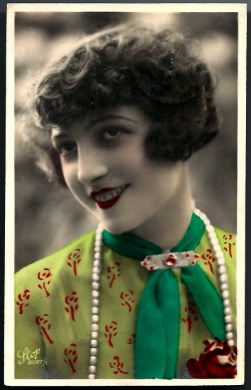 Vintage Post Card RPPC Tinted Flapper Lady with Pearl Beads