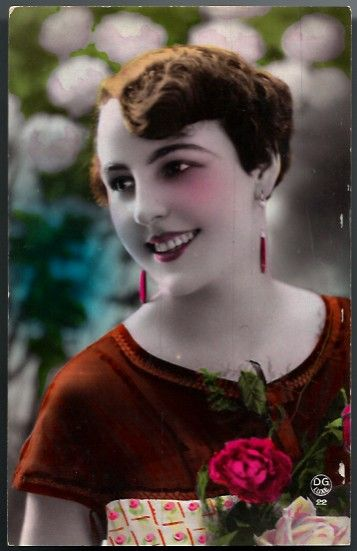 Vintage Post Card RPPC Tinted Flapper Lady with Flowers