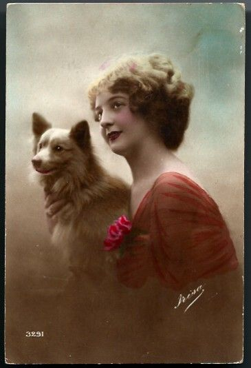 Vintage Post Card RPPC Tinted Lady with Dog