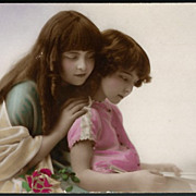 Vintage Post Card RPPC Tinted Girls with Long Hair