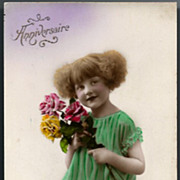 Vintage Post Card RPPC Tinted Girl with Flowers