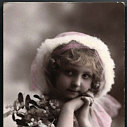 Vintage Post Card RPPC Tinted Girl with Mistletoe