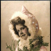 Vintage Post Card RPPC Tinted Girl with Fur Muff