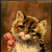 Vintage Post Card Art Cat with Pink Bow