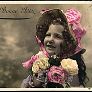 Vintage Post Card RPPC Tinted Girl with Roses