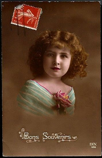Vintage Post Card RPPC Tinted Girl with Rose