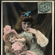 Vintage Post Card French RPPC Girl with Bisque Head Doll