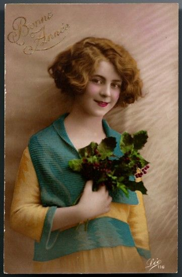 Vintage Post Card RPPC Tinted Deco Lady in Teal and Bouquet