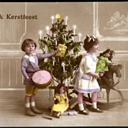 Vintage Post Card RPPC Tinted Children with Bisque Head Dolls