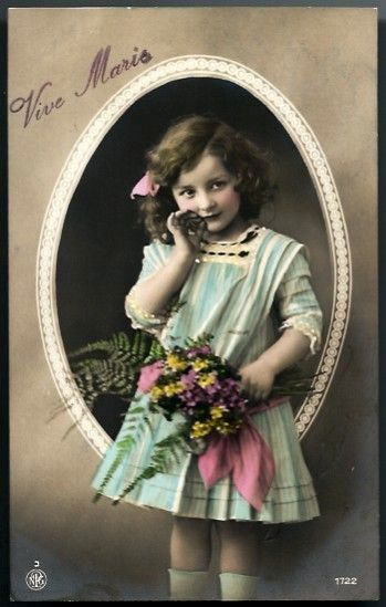 Vintage Post Card RPPC Tinted Girl with Bouquet