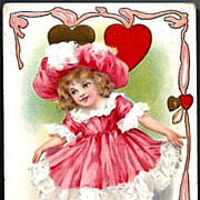 Vintage Post Card Valentines Day Girl in Pink and Big Hat