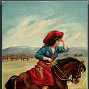 Vintage Post Card Western Cowgirl, Horse and Cattle