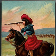 Vintage Post Card Western Cowgirl, Horse and Rifle