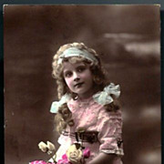 Vintage Post Card RPPC Tinted Edwardian Girl with Flowers