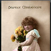 Vintage Post Card RPPC Tinted Girl in Pink with Flowers